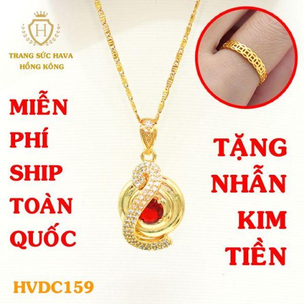 Vòng Cổ Nữ, Dây Chuyền Nữ Mặt Đính Đá Màu Đỏ, (Không Bị Xỉn Đen), Titan Xi Mạ Vàng Non 10k, 18k, 24k Thật Cao Cấp - Trang Sức Hava Hong Kong Thời Trang Cá Tính