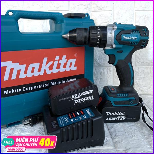 Máy Khoan Pin Makita 72V Không Chổi Than Đầu 13 Kim Loại MAKITA Có Búa 3 Chức Năng model 72V