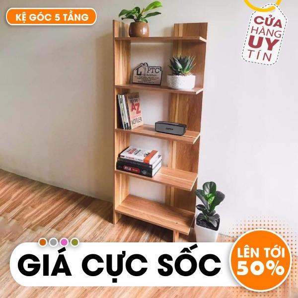Kệ sách - Kệ sách gỗ -  Kệ gỗ để đồ - Kệ góc gỗ 5 tầng - Kệ góc - Kệ đựng đồ - Phụ kiện trang trí nội thất phòng khách, phòng ngủ