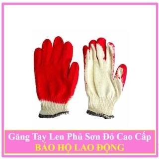Combo 100 Đôi găng tay len phủ sơn đỏ bảo hộ lao động dày đẹp, găng tay bảo hộ lao động thumbnail