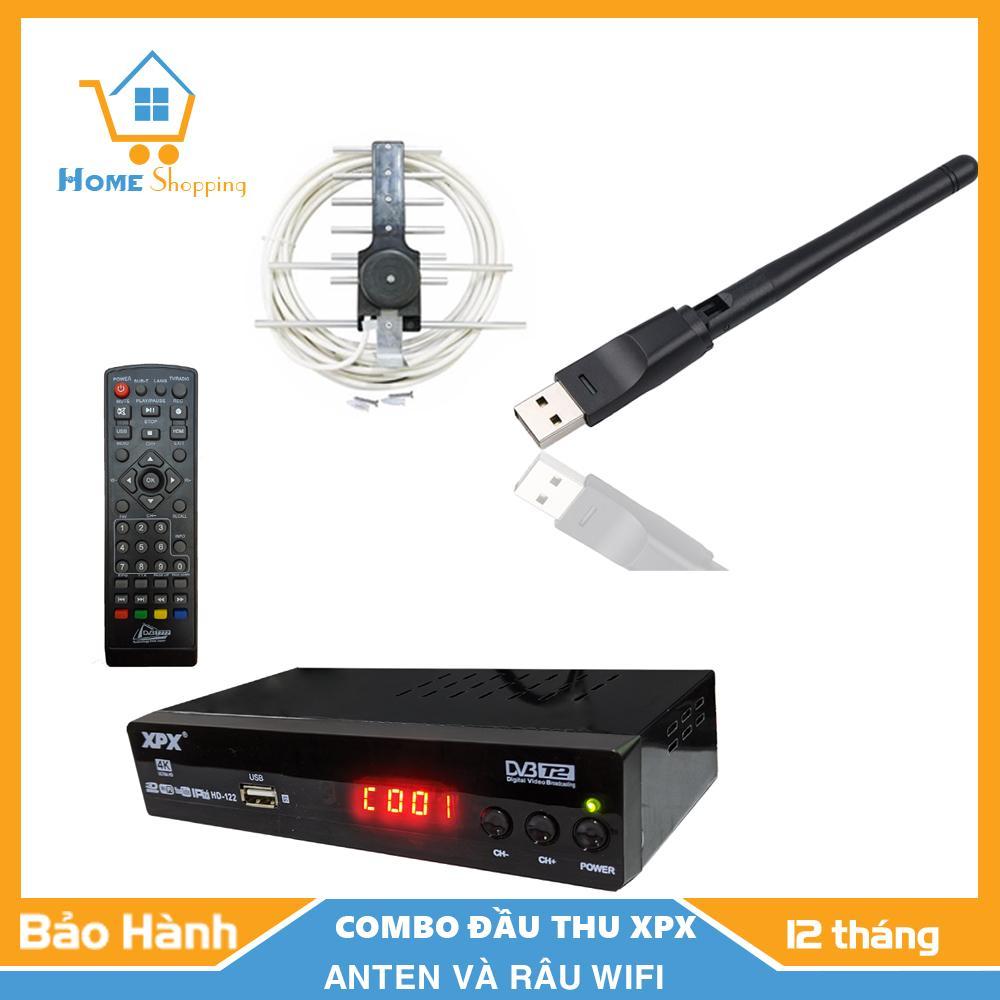 Mã Khuyến Mại [COMBO] Đầu Thu Kỹ Thuật Số- Đầu Thu Truyền Hình Mặt Đất-DVB T2-XPX- Tặng Kèm Anten- Râu Wifi- Bảo Hành 12 Tháng