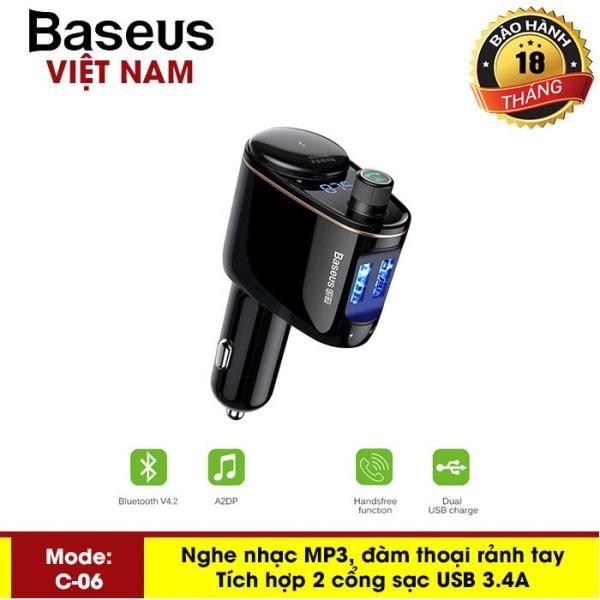 Tẩu sạc trên oto Baseus ( S-06) tích hợp khe USB Flash nghe nhạc , đàm thoại rảnh tay, FM công nghệ Bluetooth 4.2 - Phân phối bởi Baseus Vietnam