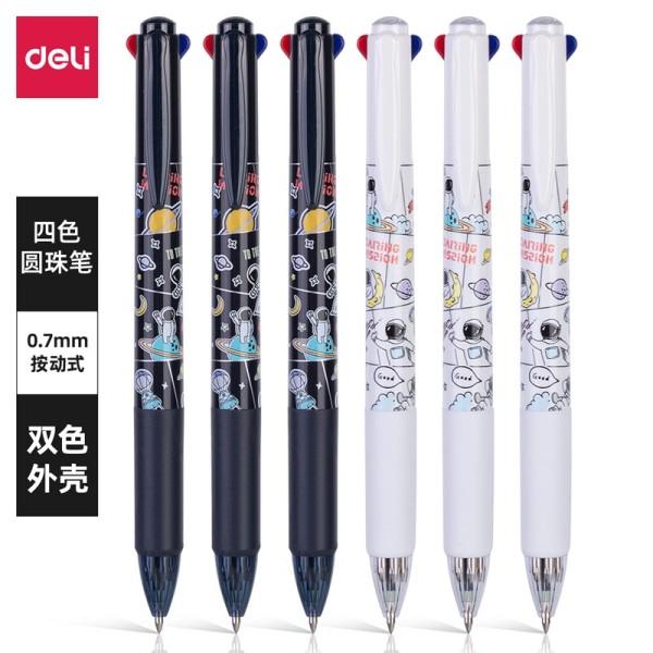 Bút bi 4 màu mực phi hành gia Deli - Bút bi nhiều ngòi- Ngòi 0.7mm - 4 màu mực - vỏ màu ngẫu nhiên - S171