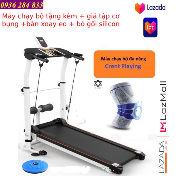 Combo máy chạy bộ cơ đa năng Lazasport® + băng đầu gối silicon Aolikes + giá đỡ tập bụng + bàn xoay eo + dây cáp kéo tay - Bảo hành 12 tháng
