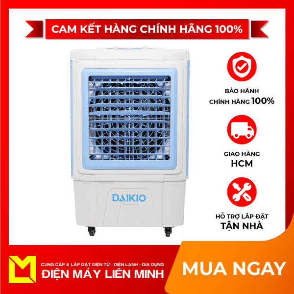 Quạt điều hòa Daikio DK-5000C - Máy làm mát không khí có công suất đến 135 W. Bình chứa nước dung tích lớn, lên tới 45 lít. Đảo chiều gió linh hoạt trái – phải làm mát hiệu quả.