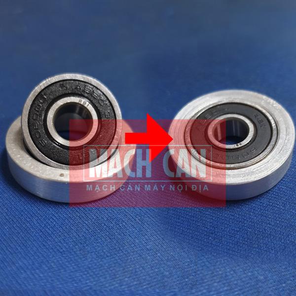Combo 1 vòng nhôm 1 bạc đạn 608 chế quạt - vòng bi 608 kèm chêm bạc bằng nhôm