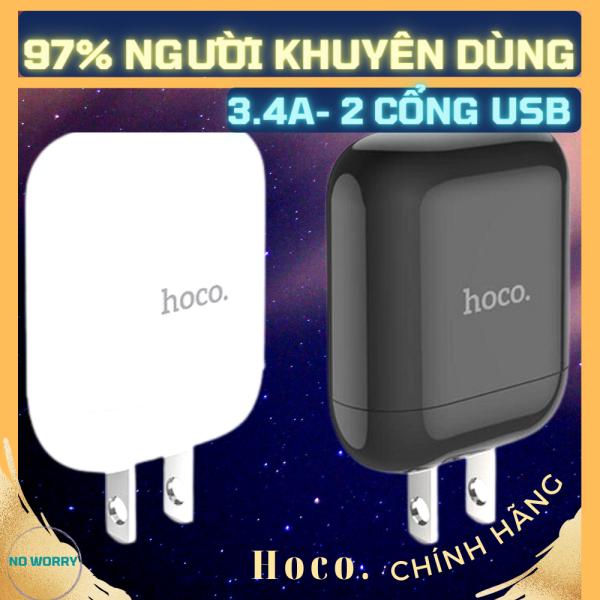 Củ Sạc Nhanh 3.4A, 2 cổng USB [Kèm dây sạc Type C Iphone Micro USB] cáp Chip Sạc An Toàn Sạc Được 1Thiết Bị củ cục sạc iphone ipad cốc sạc điện thoại củ sạc nhanh samsung xiaomi oppo iphone [No Worry]