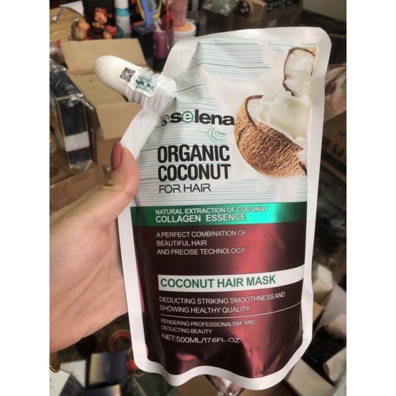 Kem ủ tóc Dừa  Hấp Tóc cải thiện độ bóng mượt Tóc Selena organic mềm mượt 500ml