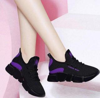 Giày Nữ Đẹp Thể Thao Sneaker Thời Trang FASHION SPORT Chữ Thêu nổi - ACG 8-1 (Đen phối Đỏ-Đen phối tím-Đen) thumbnail