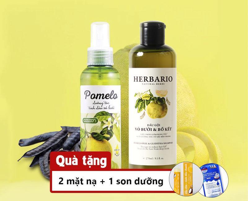 Bộ trị rụng tóc dầu gội vỏ bưởi bồ kết Herbario và tinh dầu bưởi Pomelo nhập khẩu