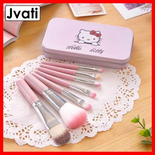 [COMBO] Bộ cọ trang điểm Hello Kitty 7 cây trong hộp xinh xắn, lông cọ mềm với màu hồng cực dễ thương. Hộp cọ thiết kế nhỏ gon dễ dàng bỏ túi mang theo đi học, đi làm, đi chơi, du lịch - Jvati