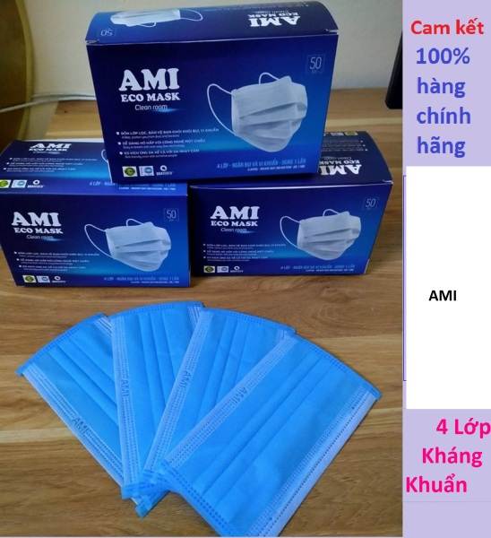 Khẩu trang y tế 4 lớp Ami  kháng khuẩn  cao cấp ( hộp 50 chiếc) nhập khẩu