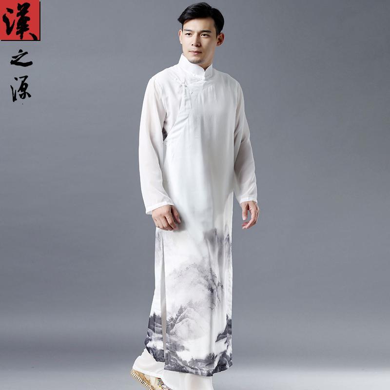 Trung Quốc Phong Cách Mùa Hè Vải Chiffon Áo Dài Trung Quốc Cổ Áo Dài Cổ Áo Vạt Chéo Khóa Tang Phù Hợp Với Trang Phục Cư Sĩ Đồ Nam Phong Cách Trung Hoa Hán Phục Mỏng