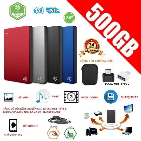 Giá ổ cứng di động Seagate Backup Plus Ultra Slim 500gb  BH 24 Tháng-Tặng túi chống sốc,đầu chuyển OTG Micro USB, Type-C dùng kết nối với SmartPhone(Androi Phone)
