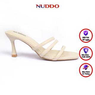 Dép sandal cao gót nữ thời trang Nuddo quai ngang mảnh 7 phân da mềm gót nhọn thumbnail