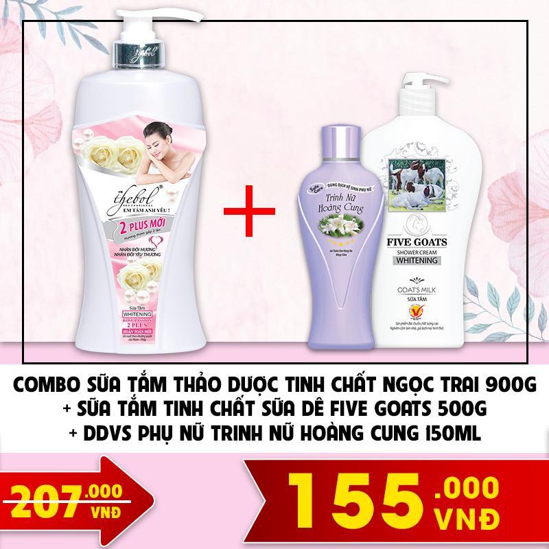 Combo sữa tắm thảo dược tinh chất ngọc trai 900g + sữa tắm tinh chất sữa dê Five Goats 500g + DDVS phụ nữ trinh nữ hoàng cung 150ml