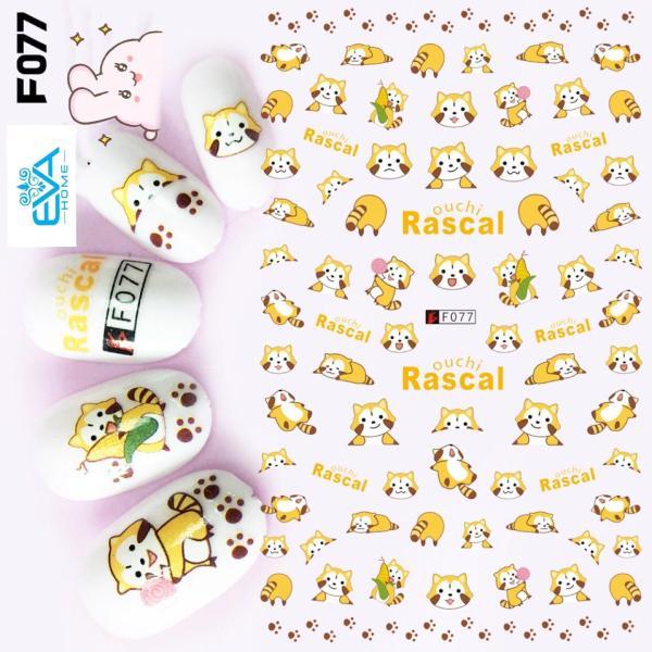 Miếng Dán Móng Tay 3D Nail Sticker Hoạt Hình Gấu Mèo Rascal F077 giá rẻ