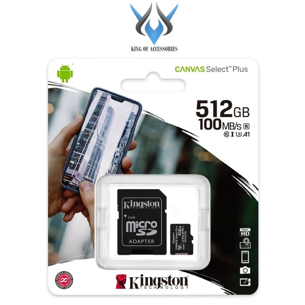 Thẻ nhớ microSDXC Kingston Canvas Select Plus 512GB U3 V30 A1 R100MB/s W85MB/s (Đen) - Kèm Adapter - Phụ Kiện 1986