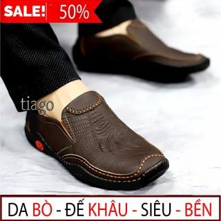 [ ẢNH THẬT] - Giày lười nam da bò giày mọi nam da bò Giày công sở đẹp da bò cao cấp thời trang hàng hiệu giá rẻ dập vân cá sấu độc đáo - ABCD SHOP thumbnail