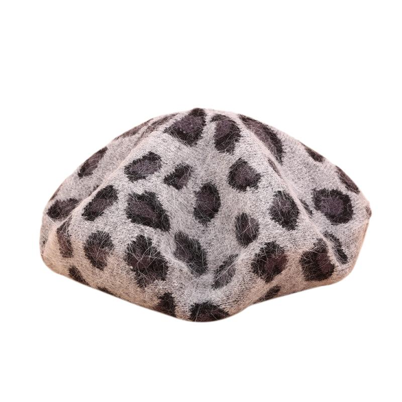 Giá bán Spring and Winter Warm Beret Female Retro Leopard Rabbit Fur Knit Painter Style Hat Pumpkin Hat Ladies