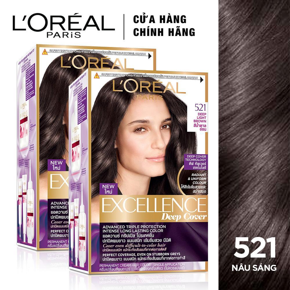 Bộ đôi kem nhuộm dưỡng tóc phủ bạc ánh sắc LOreal Paris Excellence Deep Cover 172mlx2 tốt nhất