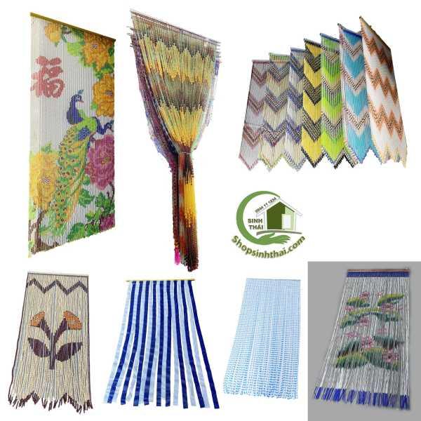 Rèm màn chuỗi nhựa, gỗ, trúc nhựa, màn nhựa, hình chim công, hoa mai 1m x 2m - chọn mẫu