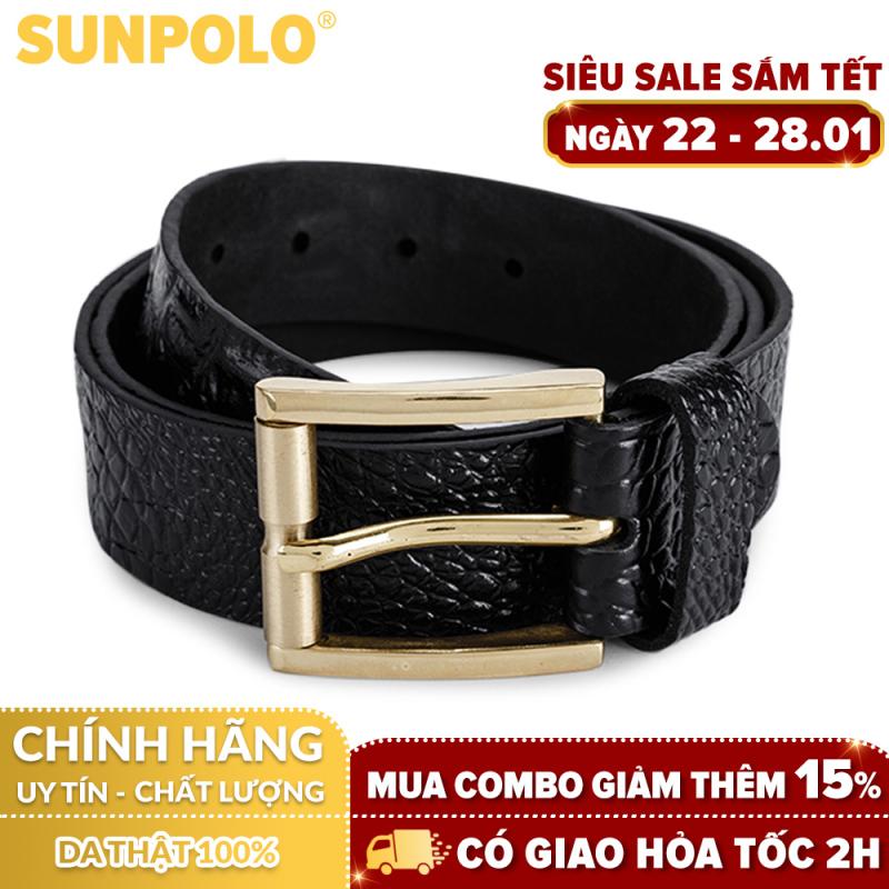 Thắt Lưng Nam Da Bò SunPoLo BS07D (Đen) + Tặng Móc Khóa Da Bò