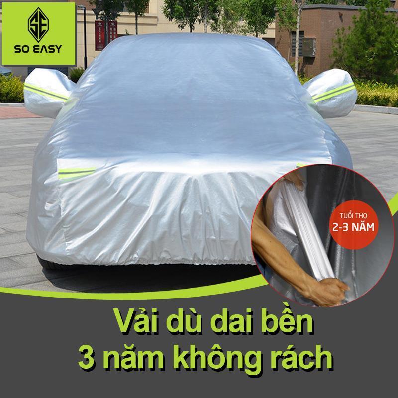 Bạt Phủ xe Ô Tô, Bạt phủ xe ô tô, bạt phủ xe hơi, áo trùm xe hơi, che xe ôtô 4 chỗ đến 7 chỗ gấp xếp gọn gàng, lớp bạc phản quang chống nóng, mưa, Một lớp vải dù Polyester Oxford Fabric  cao cấp-BPXM