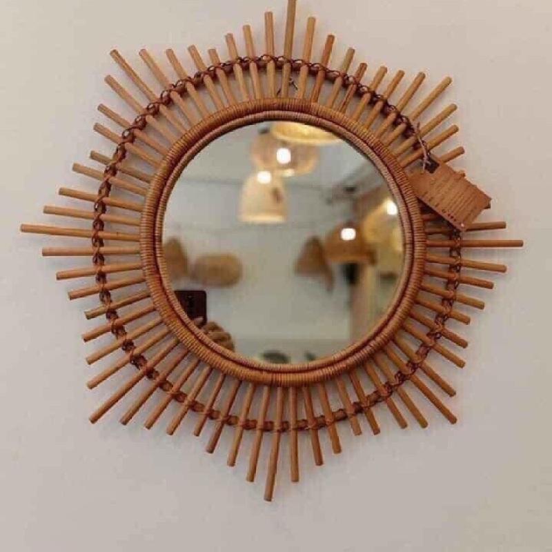 Gương tròn khung mây tre MẶT TRỜI đường kính 60cm