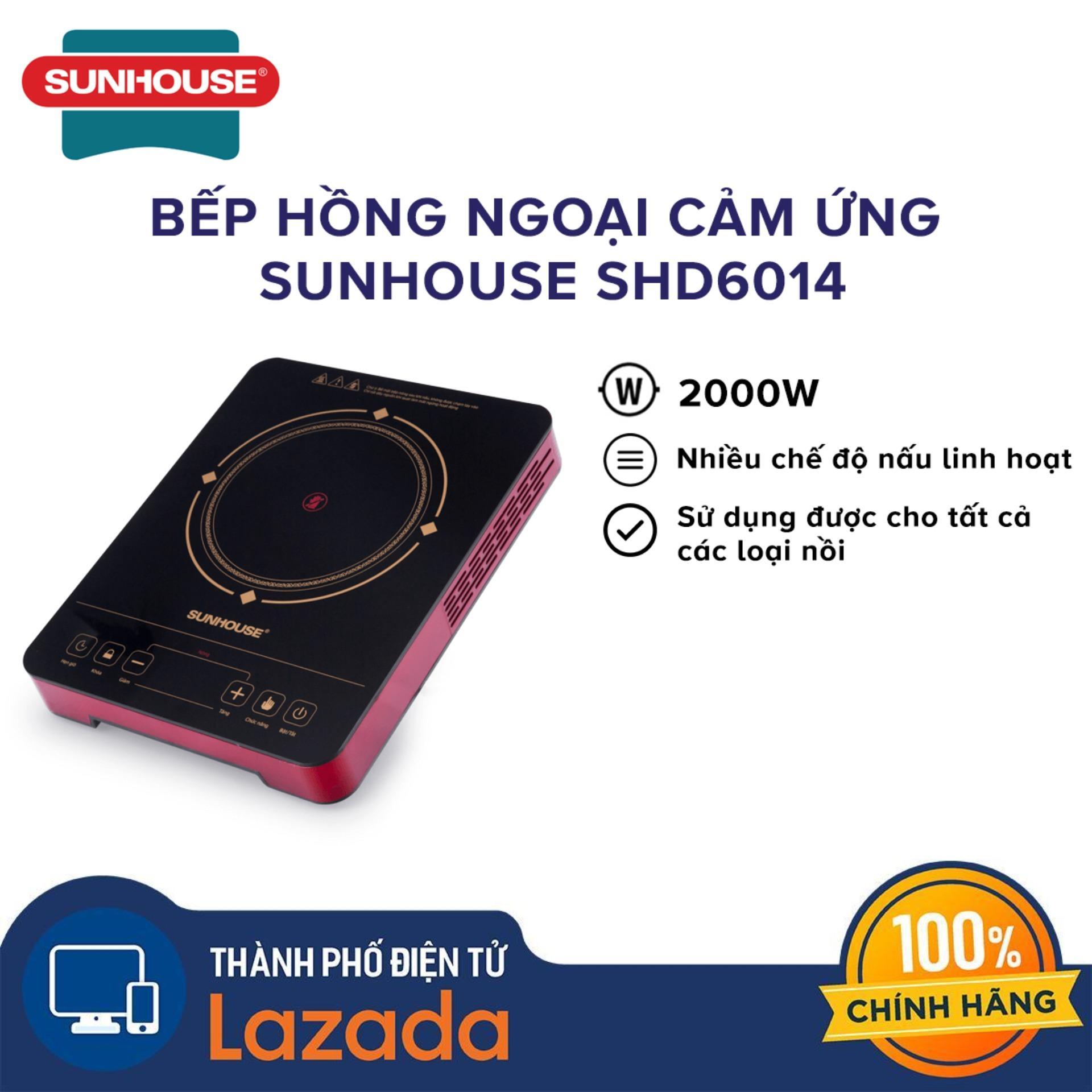 Bếp hồng ngoại cảm ứng Sunhouse 2000W SHD6014 , không kén nối, Mặt bếp siêu bền chịu được nhiệt độ lên đến 800 độ C - Hãng phân phối chính  hãng