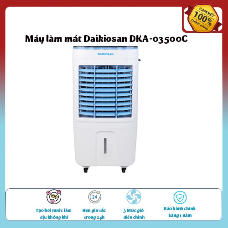 Máy làm mát Daikiosan DKA-03500C-Loại quạt: Quạt điều hòa , diện tích làm mát 20 – 25 m2, Tạo hơi nước làm dịu không khí,Tốc độ gió: 3 mức, Đảo gió 4 chiều, hàng chính hãng giá ưu đãi