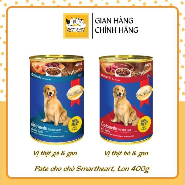 [HCM]Pate cho Chó Smartheart Vị bò gan và gà gan Lon 400g
