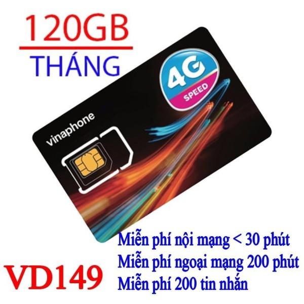 Sim 4G Vina gói 4GB/ngày (120GB/tháng) + 200 phút gọi ngoại mạng + Miễn phí gọi nội mạng Vinaphone gói VD149 - Giống như sim 4G Vinaphone VD89P (VD89 Plus)