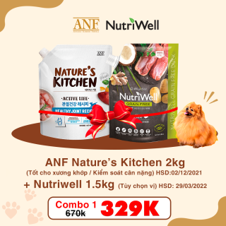 (COMBO1) Thức ăn cho chó ANF Nature kitchen (2kg) +Nutriwell (1.5kg) thumbnail