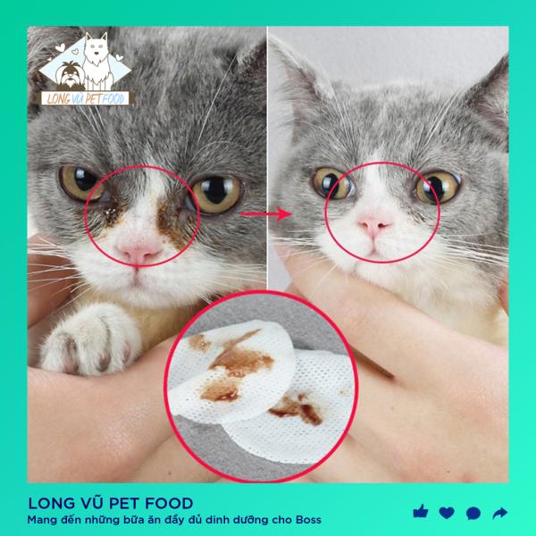 Khăn lau mắt tai ố cho chó mèo hộp 100 miếng, công thức nhẹ nhàng, an toàn dễ sử dụng
