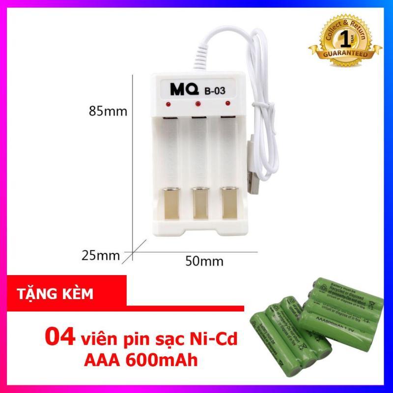 Combo Bộ sạc pin AA, AAA 03 cổng (sạc pin Ni-Cd) - MQ-03 + tặng kèm 04 viên pin sạc AAA 600mAh