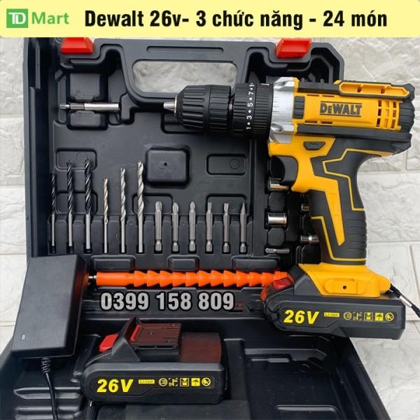 Máy khoan, bắt vít dùng pin 26V DEWALT  3 chức năng, 100% lõi đồng tặng bộ phụ kiện 24 chi tiết