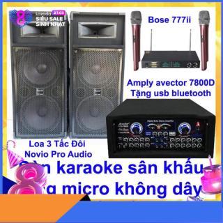 [Trả góp 0%]Dàn karaoke sân khấu karaoke gia đình Loa 3 tấc đôi nỉ novio pro audio và amply karaoke avector 7800d kèm bộ micro bs 777ii thumbnail