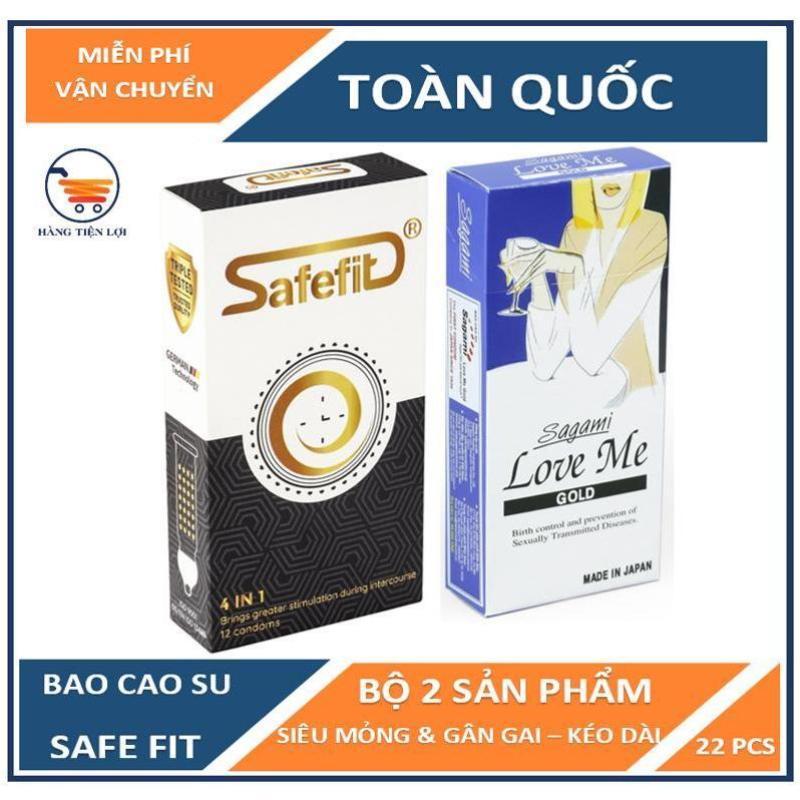 Combo Bao cao su Gân-Gai-Thắt-Kéo dài thời gian Safe Fit 4in1 12 chiếc và Sagami Siêu Mỏng Love me Gold 10 chiếc