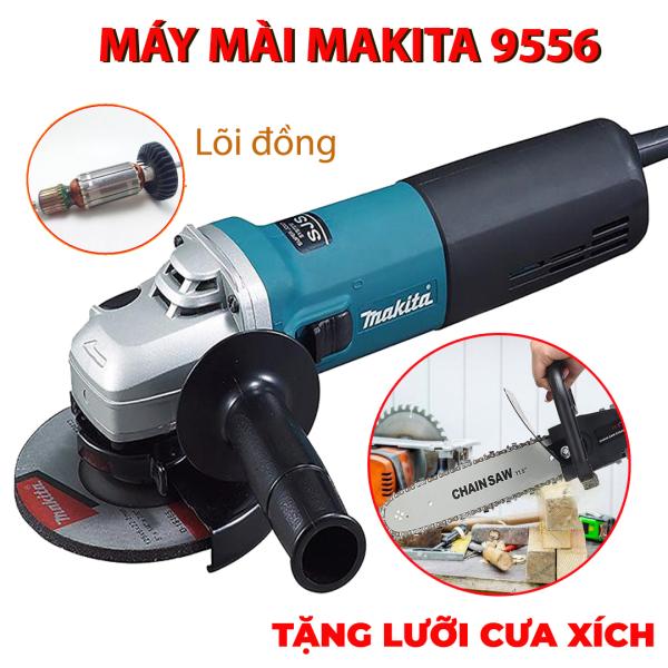 [TẶNG LƯỠI CƯA XÍCH] Máy mài góc Makita 9556 - Máy mài điện Makita công suất 840W - Máy cắt 1 tấc - Máy đánh bóng lõi đồng - Máy mài cắt cầm tay - BH 6 tháng