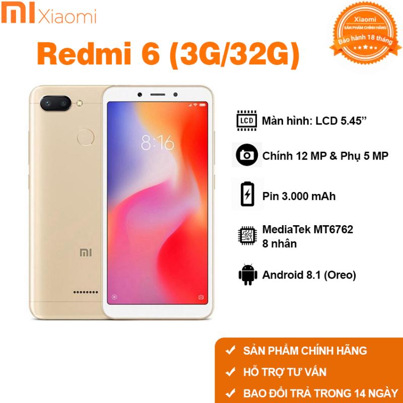 Điện thoại Xiaomi Redmi 6 Ram 3G 32G Ram 4G 64G cảm biến vân tay chơi game mượt pubg liên minh Free fire fifa có tiếng Việt bảo hành 18 tháng