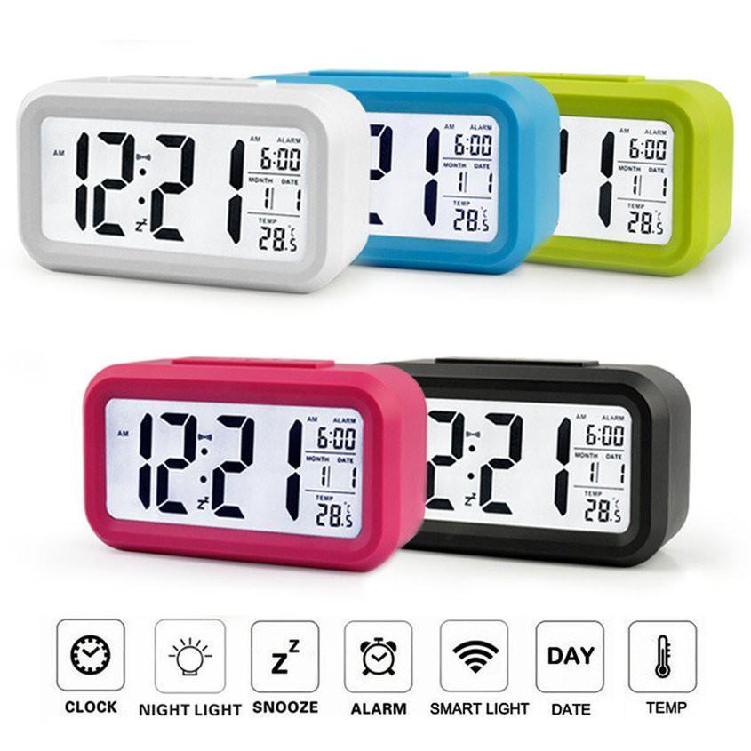 Nơi bán Đồng hồ báo thức điện tử kỹ thuật số để bàn với đèn LED nền cảm biến đa chức năng LC01 ( Màu đen )
