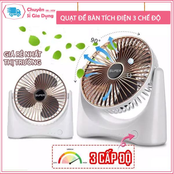 Quạt Mini Để Bàn Sạc Pin Tích Điện Super Fan, Quạt Để Bàn 3 Chế Độ Gió, Tích Hợp Chế Độ Gập Thông Minh, Bảo Hành 12 Thán