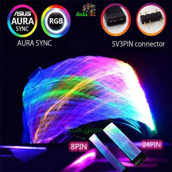 Bảng giá Dây nguồn nối dài 24pin ,8pin Led RGB Sync Mainboard 5v 3pin, Hiệu Qingsea Phong Vũ