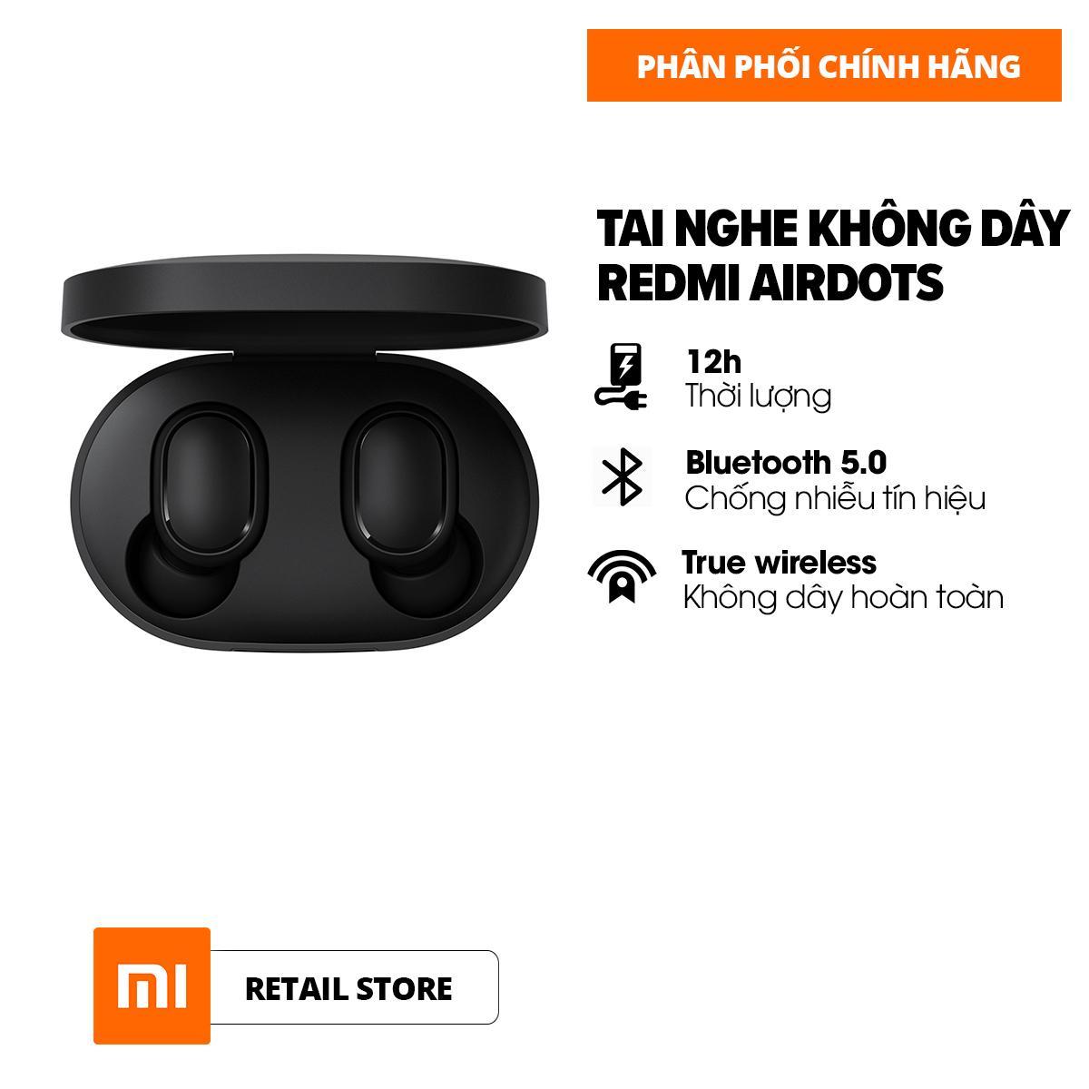 [HÀNG CHÍNH HÃNG - BẢO HÀNH 6 THÁNG] Tai nghe không dây Xiaomi Redmi AirDots True Wireless - Bluetooth 5.0 - Pin 12 tiếng - 4h nghe nhạc liên tục