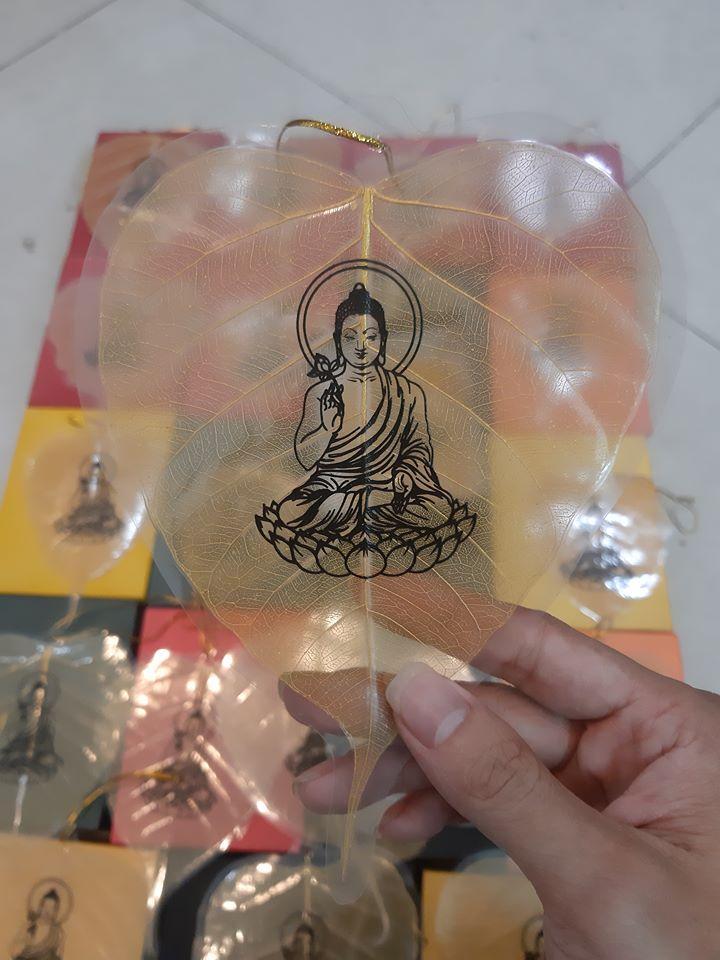 Lá Bồ Đề Vàng In Hình Phật - Cầu tài lộc, bình an, may mắn - 3
