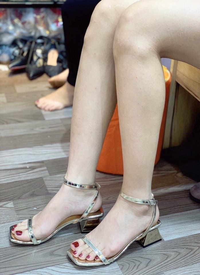 Giày Sandal Dây Mảnh, Gót Trụ 5p Sang Chảnh - VNXK