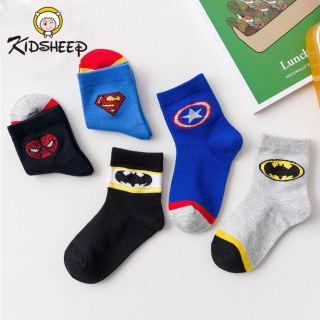 Kidsheep 5 Pairs Baby Socks Boys Cotton Socks Toddler Kids Non-slip Socks Cute Cartoon Socks Stocking for Boys Children 1-6T