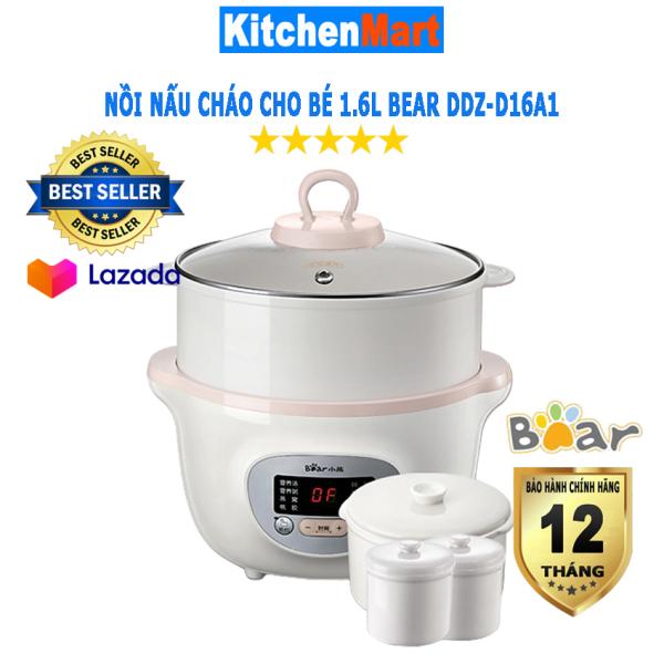 Nồi Nấu Cháo Chậm 1.6L Bear DDZ-D16A1 kèm lồng hấp (Hàng chính hãng - Bảo hành 12 tháng) - KitchenMart