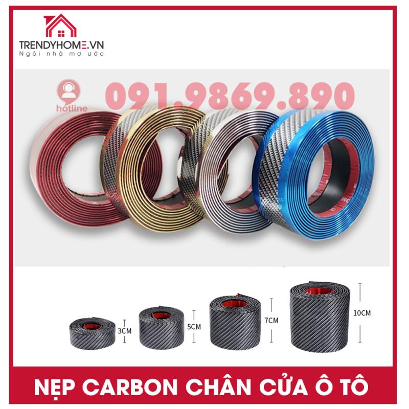 Nẹp carbon chống xước cửa lên xuống ô tô, nẹp nhựa trang trí vân carbon 70 cm có băng dính 3M dễ sử dụng